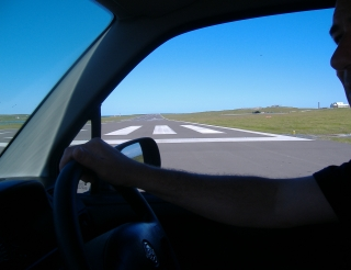 Driving across the runway at Sumburgh Airport